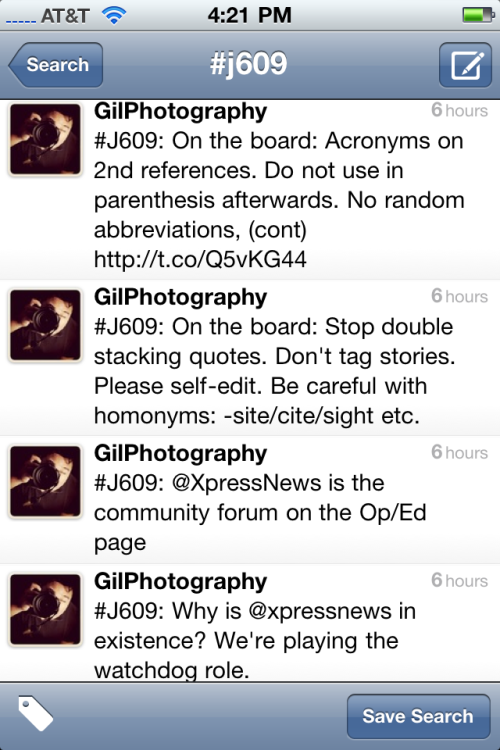 Screenshot of live tweets from publication class